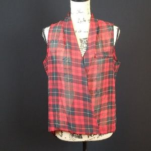 Ali & Kris plaid sleeveless wrap sheer blouse B4
